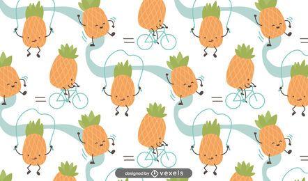 Desenho de padrão de abacaxi de desenho animado
