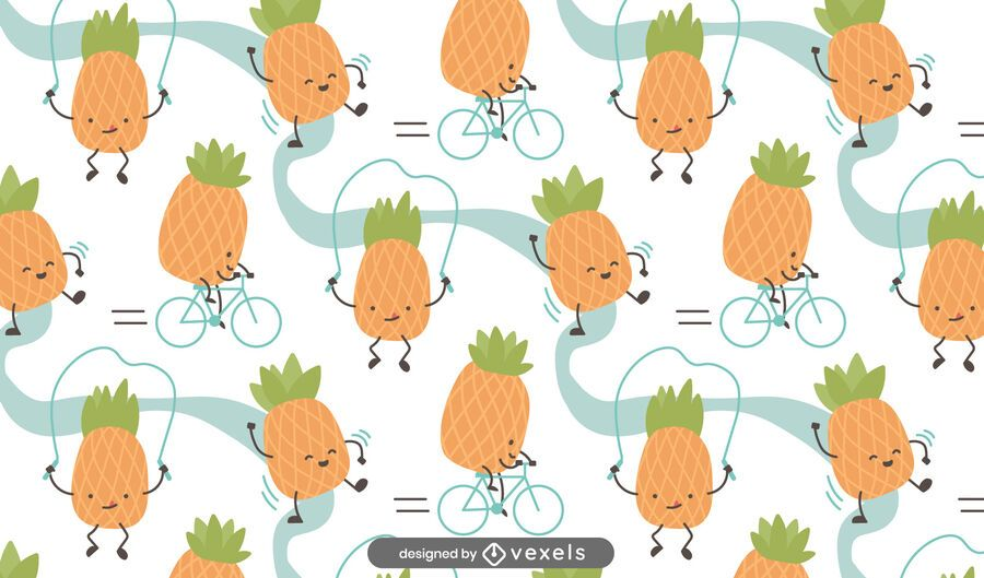 Cartoon pineapples pattern design