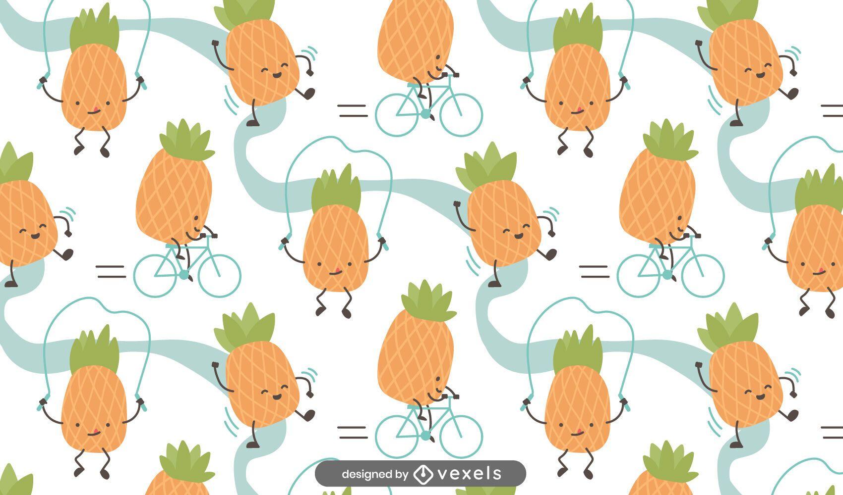 Desenho de padr?o de abacaxi de desenho animado