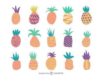 Conjunto de diseño de piña colorido plano