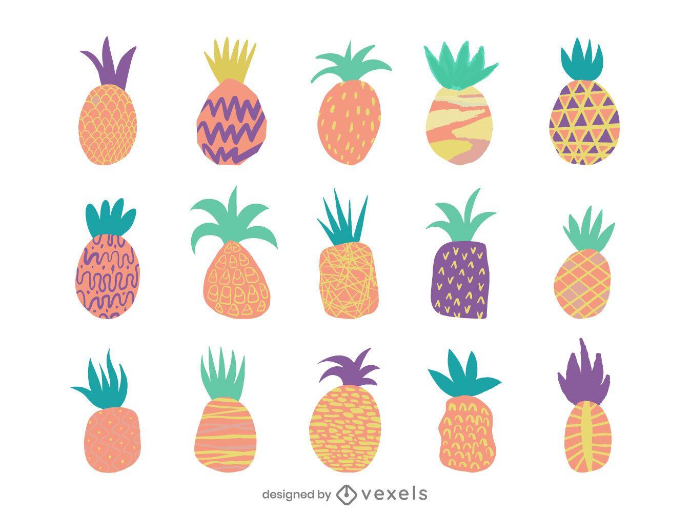 Flat colorful pineapple design set