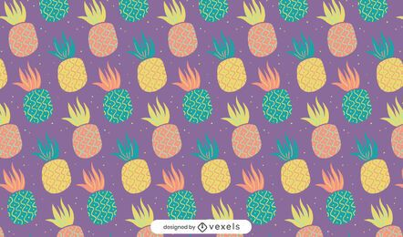 Doodle pineapples pattern design