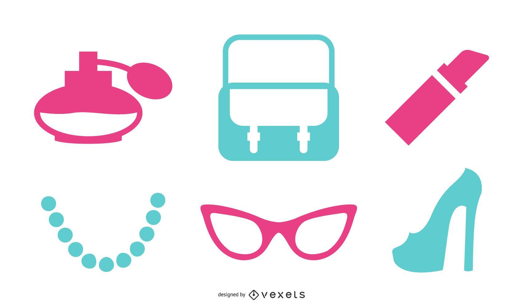 Pack de accesorios femeninos de vector