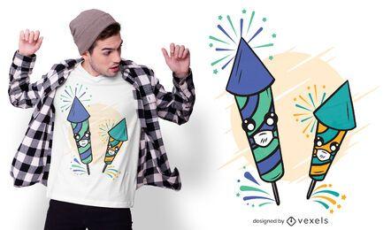 Lindo diseño de camiseta de fuegos artificiales