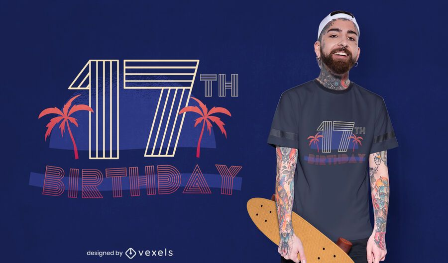 Retro birthday t-shirt design