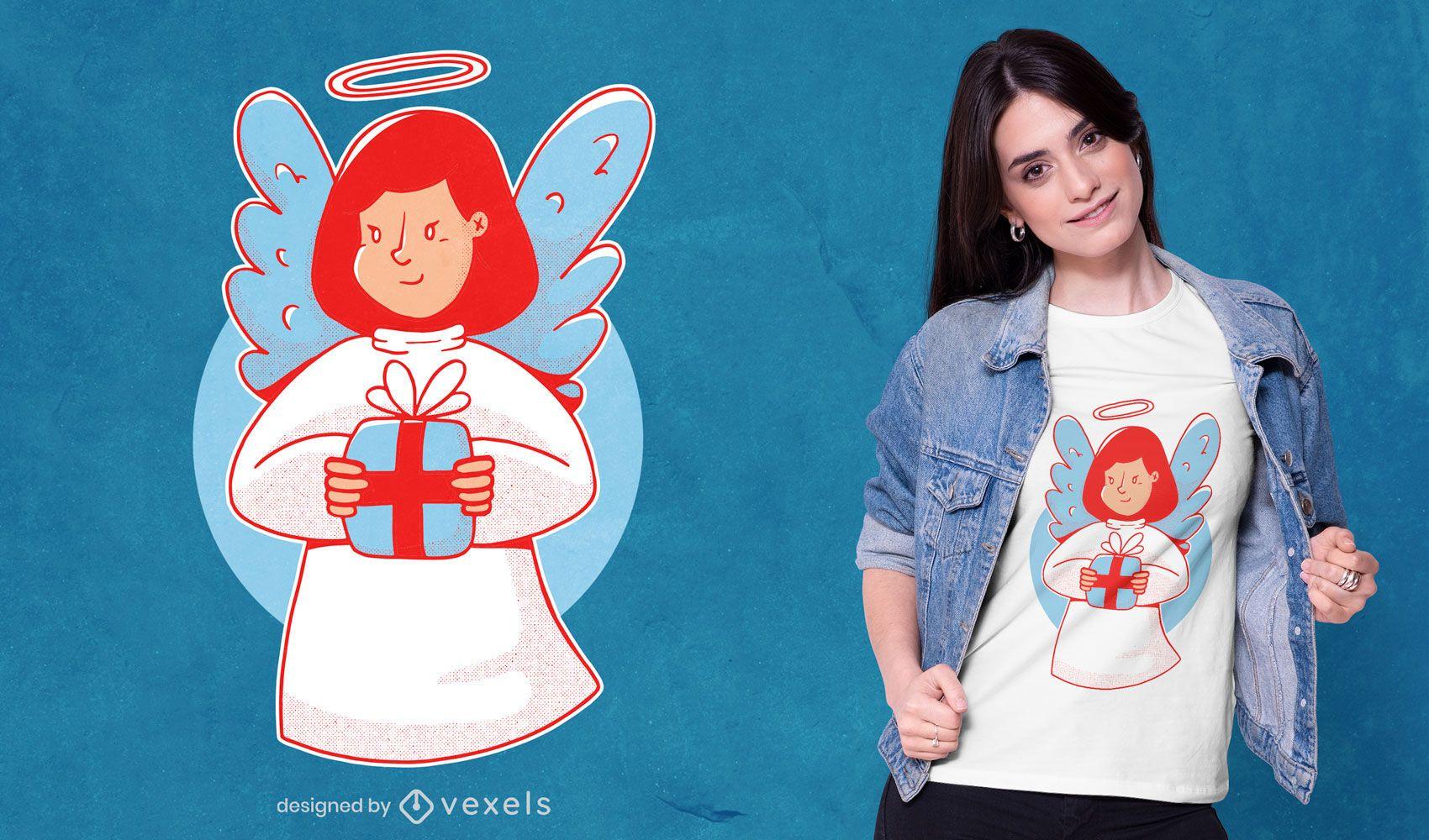 Diseño de camiseta de ángel navideño