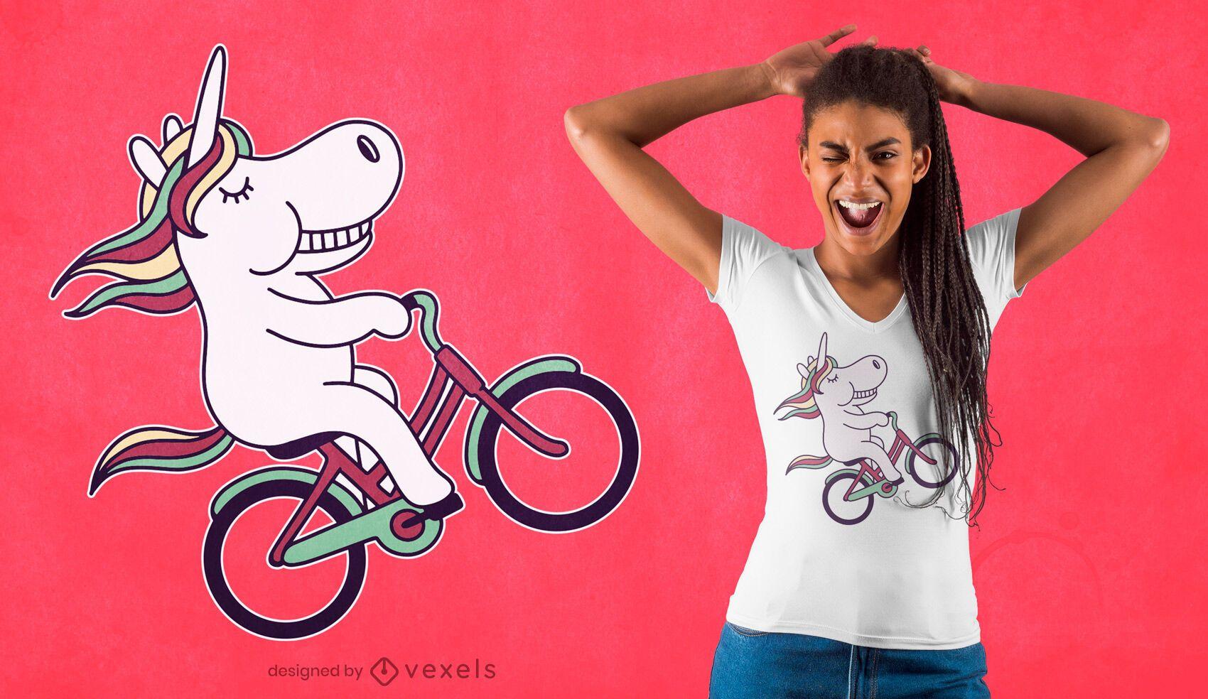 Design de camiseta de Unicórnio ciclista