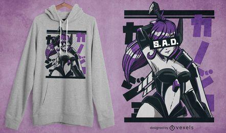 Diseño de camiseta de chica anime triste