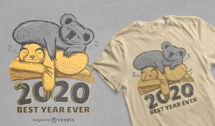 Diseño de camiseta de koala y pereza.