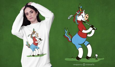 Unicorn golfing t-shirt design