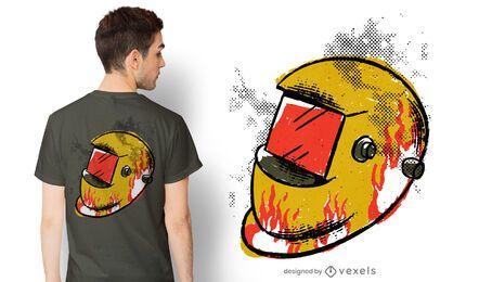 Diseño de camiseta de casco de soldadura.