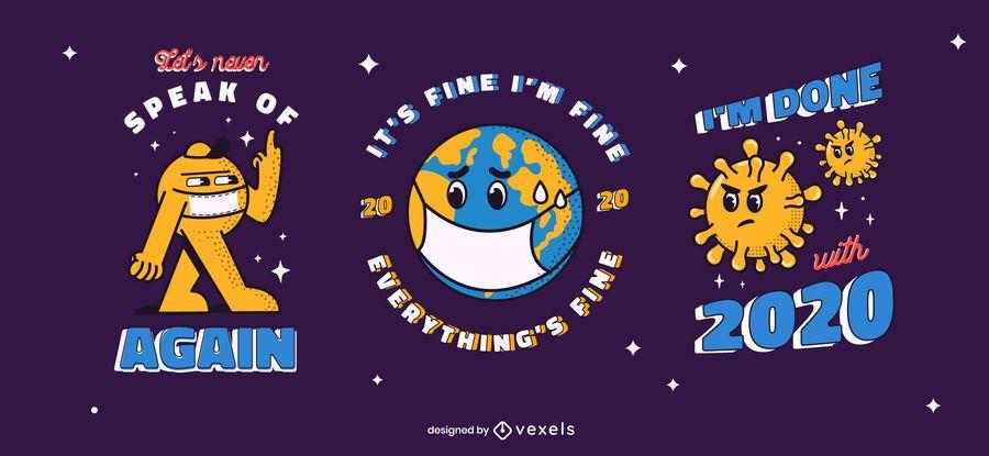 Conjunto de emblemas anti-ano novo