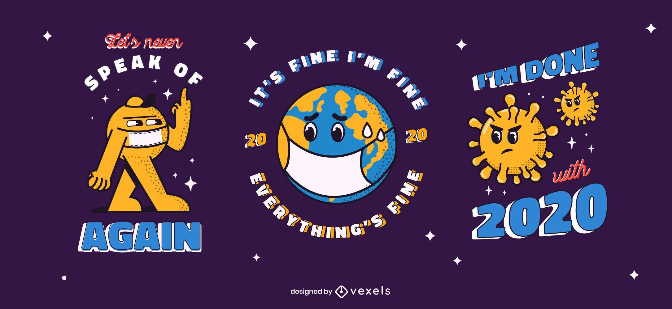 Conjunto de insignias anti año nuevo