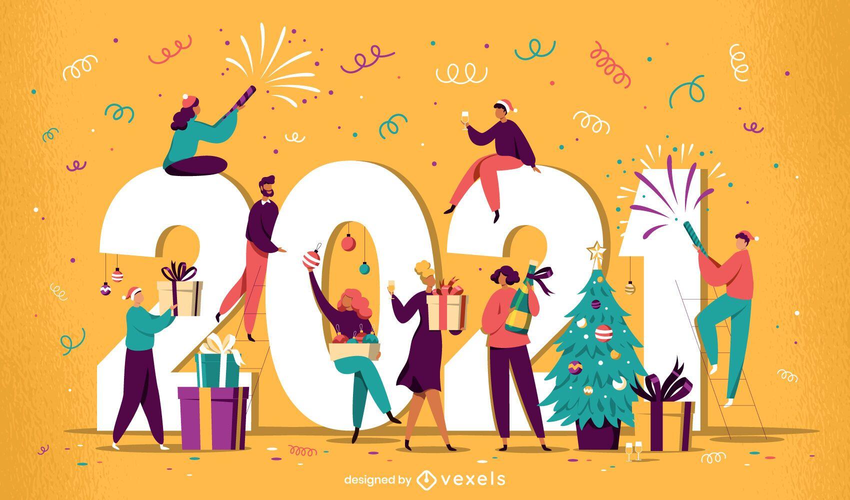 2021 celebration illustration design