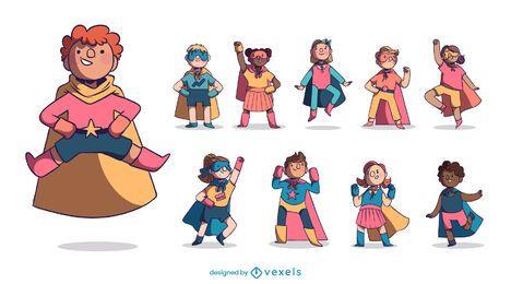 Pacote de personagens super-heróis infantis