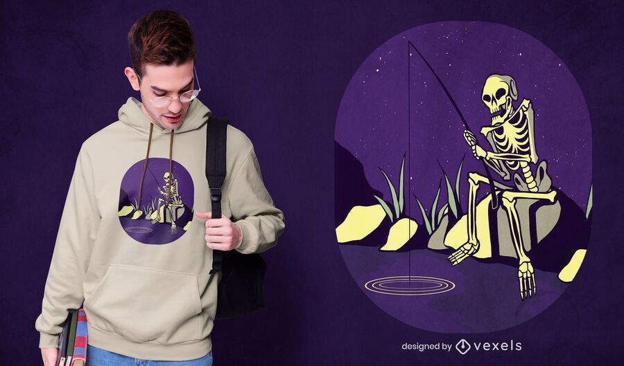 Diseño de camiseta de esqueleto de pesca.