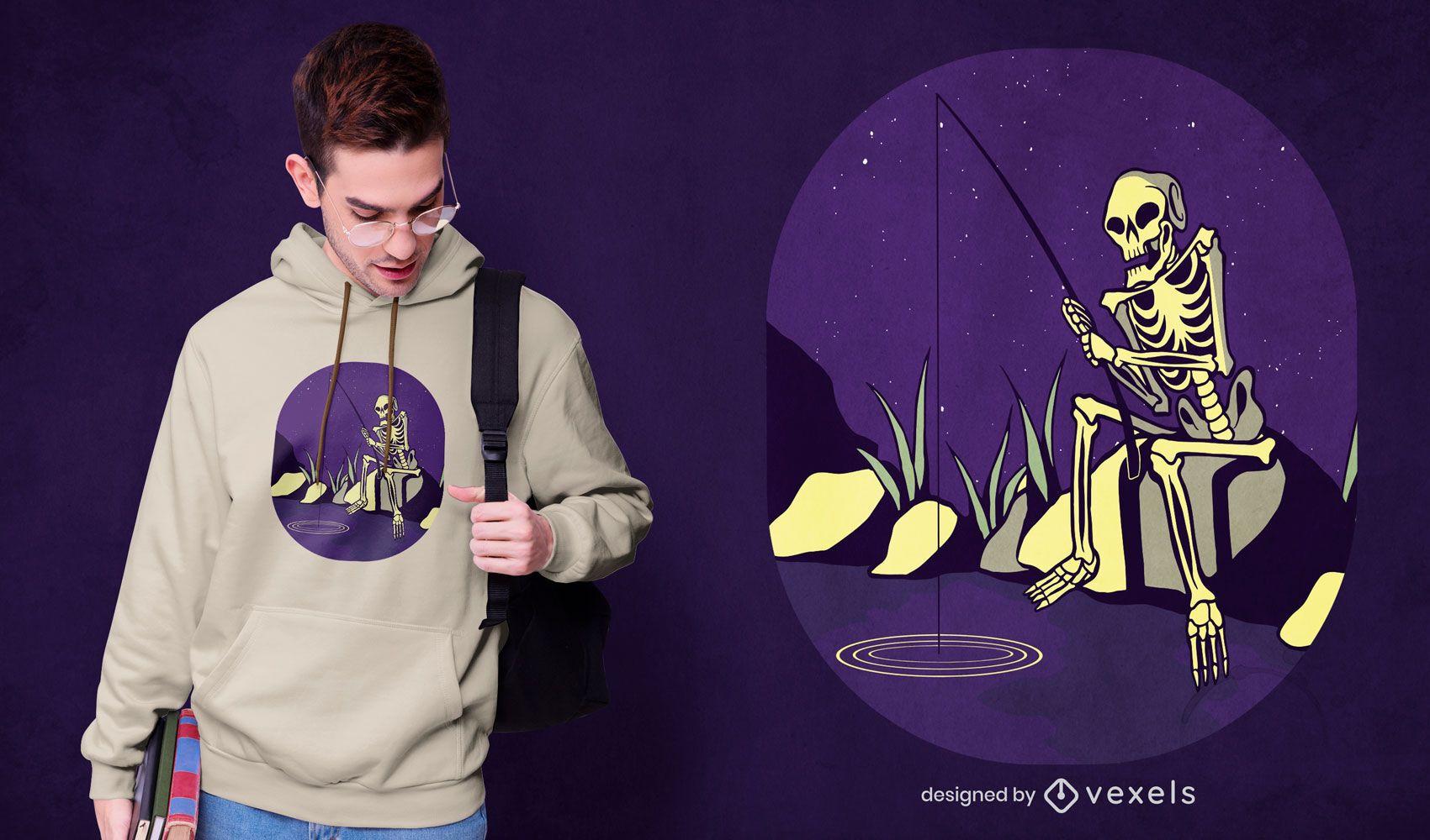 Fishing skeleton t-shirt design