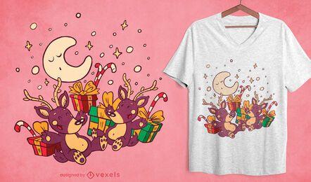 Diseño de camiseta de renos navideños.