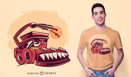 Diseño de camiseta de cosechadora de maíz.