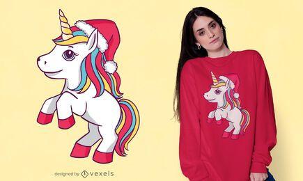 Diseño de camiseta de unicornio con sombrero de santa