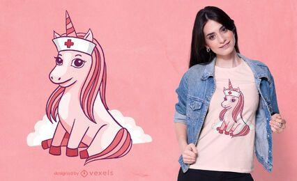 Diseño de camiseta de enfermera unicornio