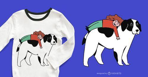 Diseño de camiseta de niña y perro.