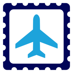 Airplane on stamp logo