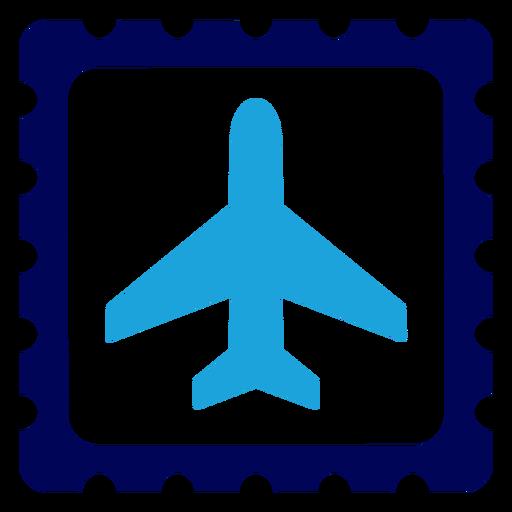 Airplane on stamp logo