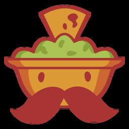 Tigela de abacate com logotipo de bigode