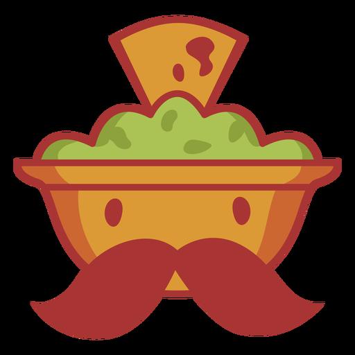 Avocado bowl with mustache logo Transparent PNG