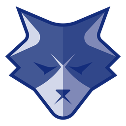 Blaues wütendes Wolfslogo
