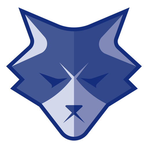Blue angry wolf logo Transparent PNG