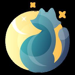 Gato olhando para o logotipo da lua