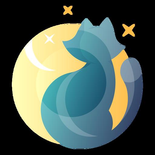 Cat staring at moon logo Transparent PNG