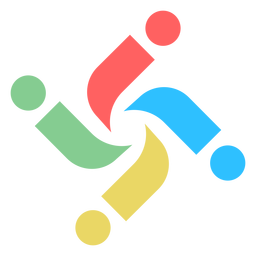 Letra colorida com redemoinhos e logotipo abstrato
