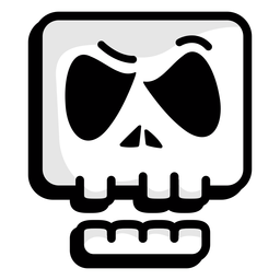 Doubtful skull illustration logo