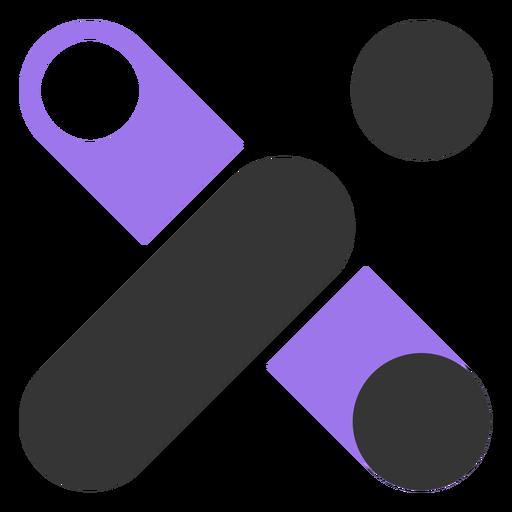 Geometric black and violet logo