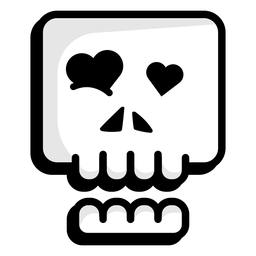 In love skull illustration logo