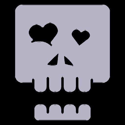 In love skull silhouette logo