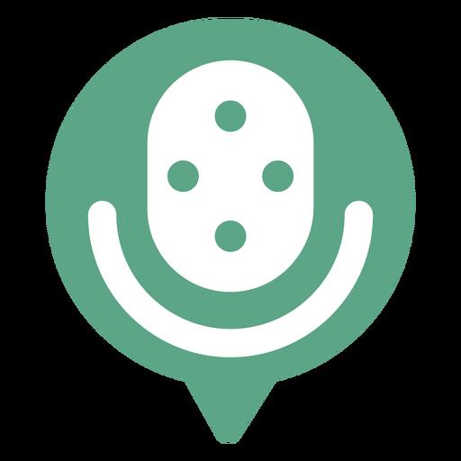 Microphone in speech bubble logo