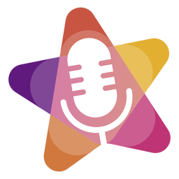 Microphone in star logo
