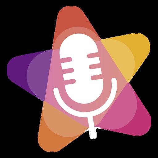 Microphone in star logo