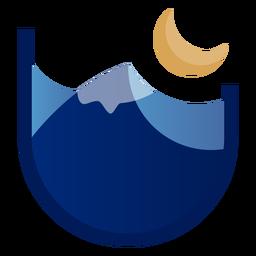 Logotipo da montanha à noite