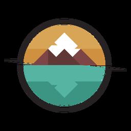 Logotipo da montanha à beira do lago