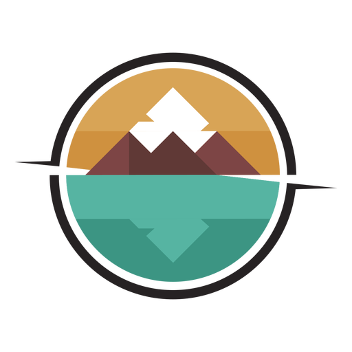 Logotipo da montanha à beira do lago Transparent PNG