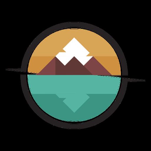 Logotipo de la montaña junto al lago
