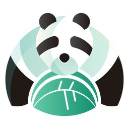 Panda bear eating logo