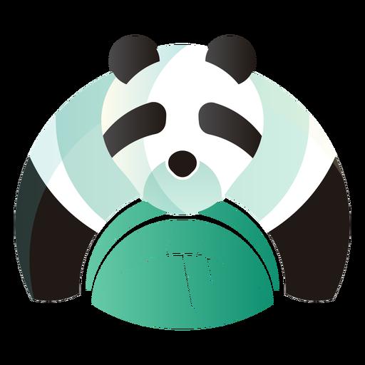 Oso panda comiendo logo