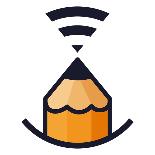 Pencil with wifi signal logo