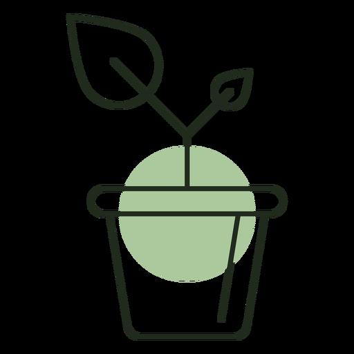 Planta que crece en el logo de maceta